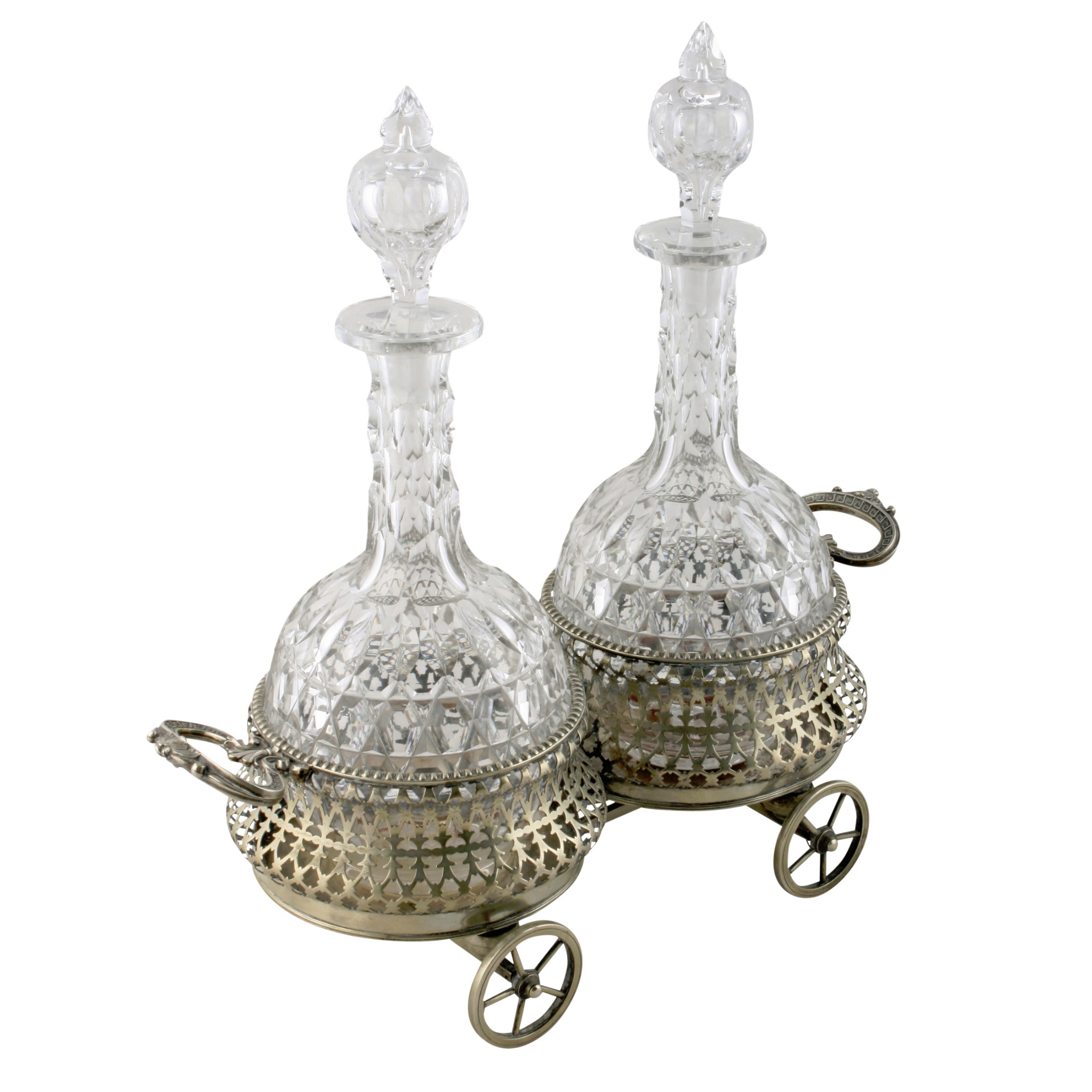 silver plated coaster wagon decanters