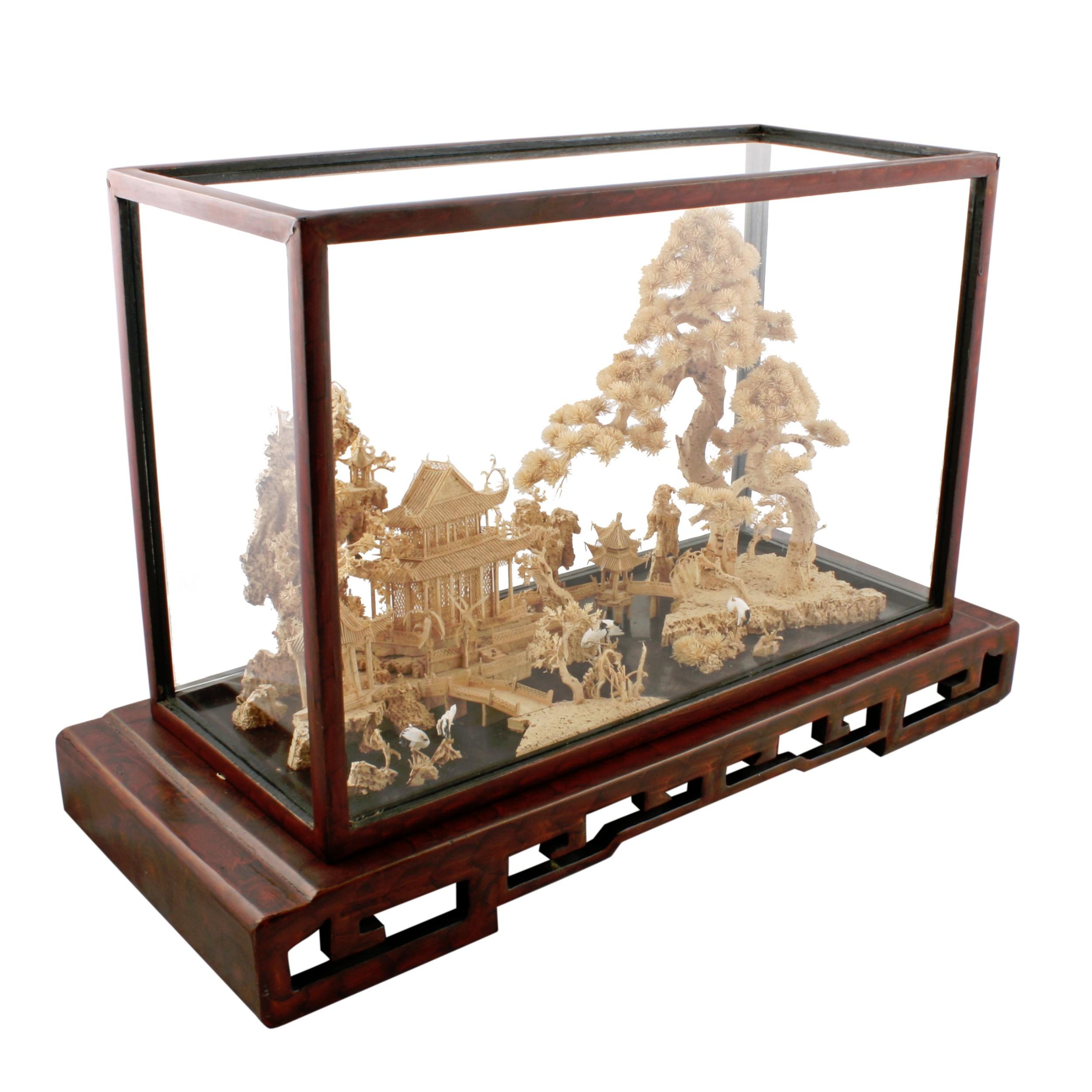 chinese carved cork box wood diorama