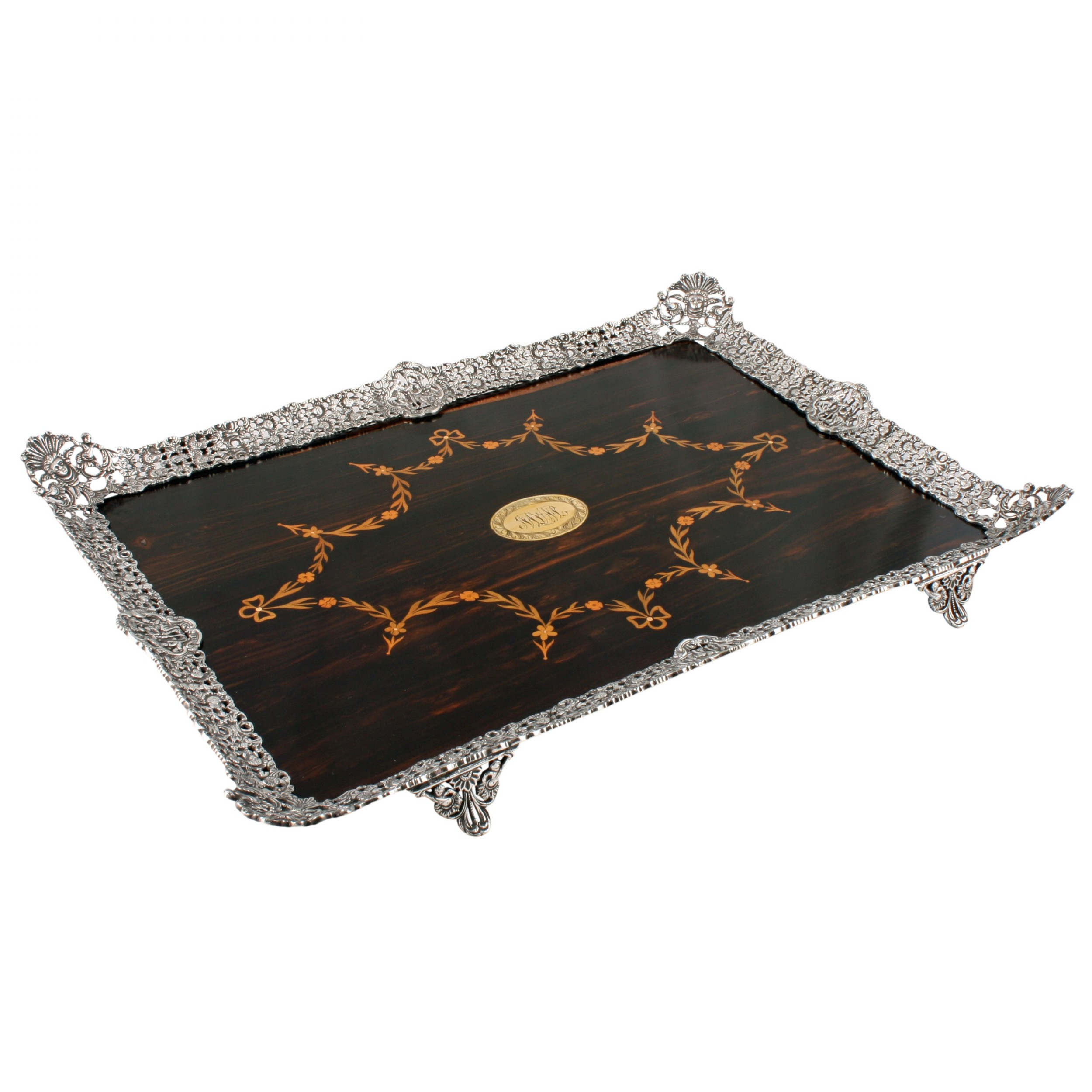 fine coromandel silver plated tray