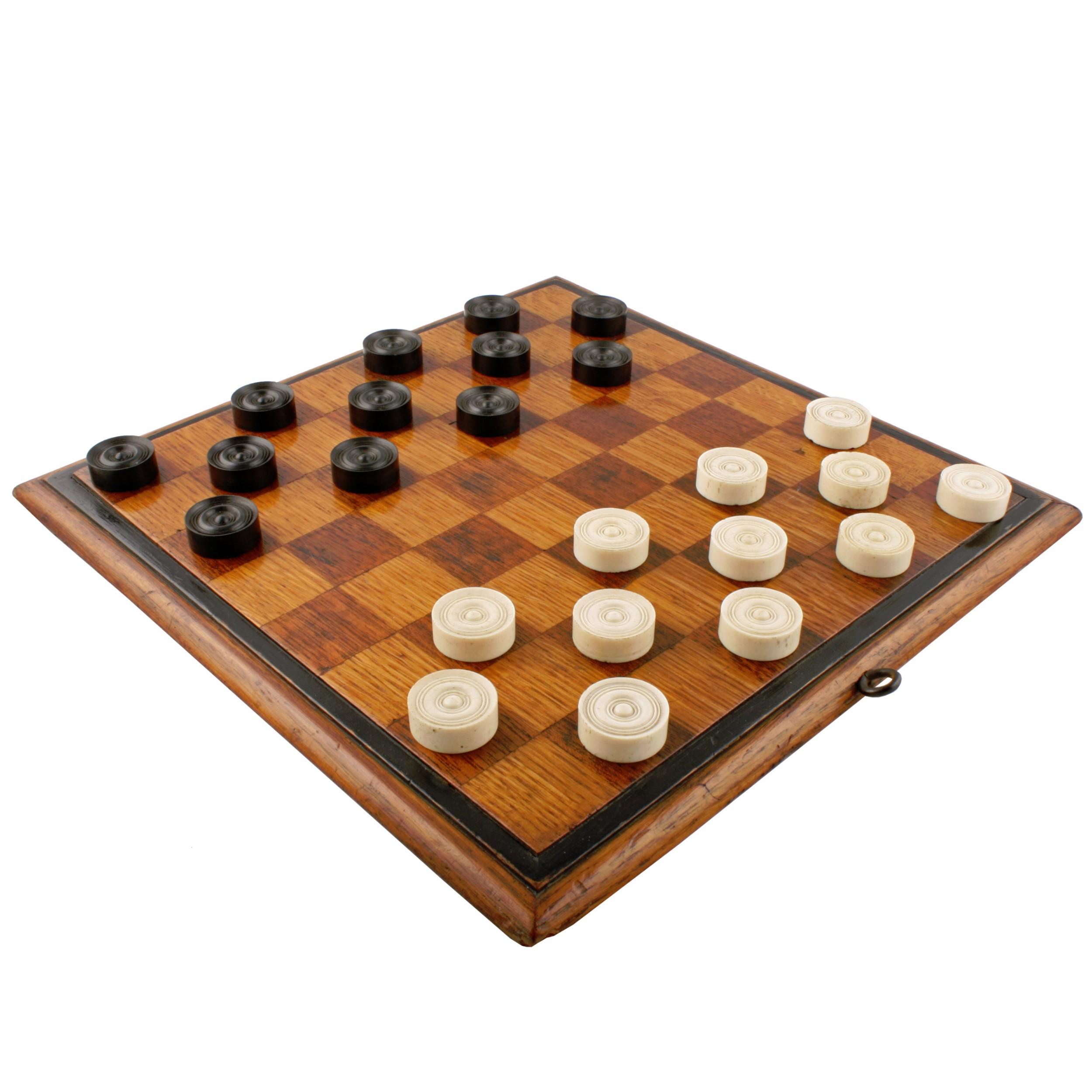 oak draughts board dominoes set