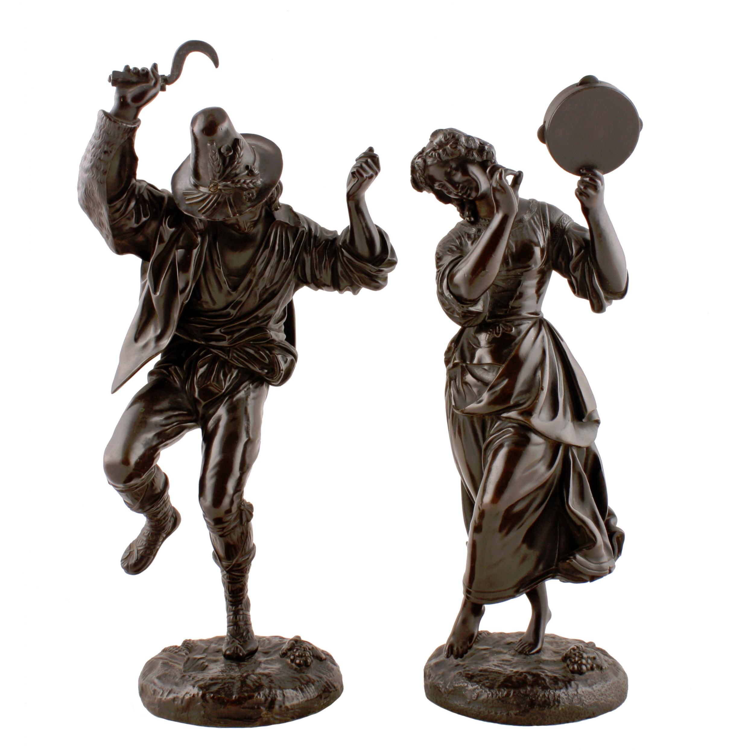 pair of bronze dancing peasant figures