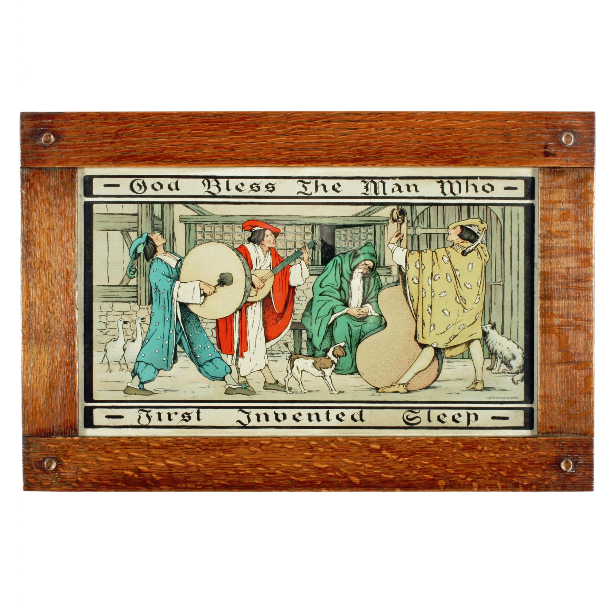 arts crafts oak framed print