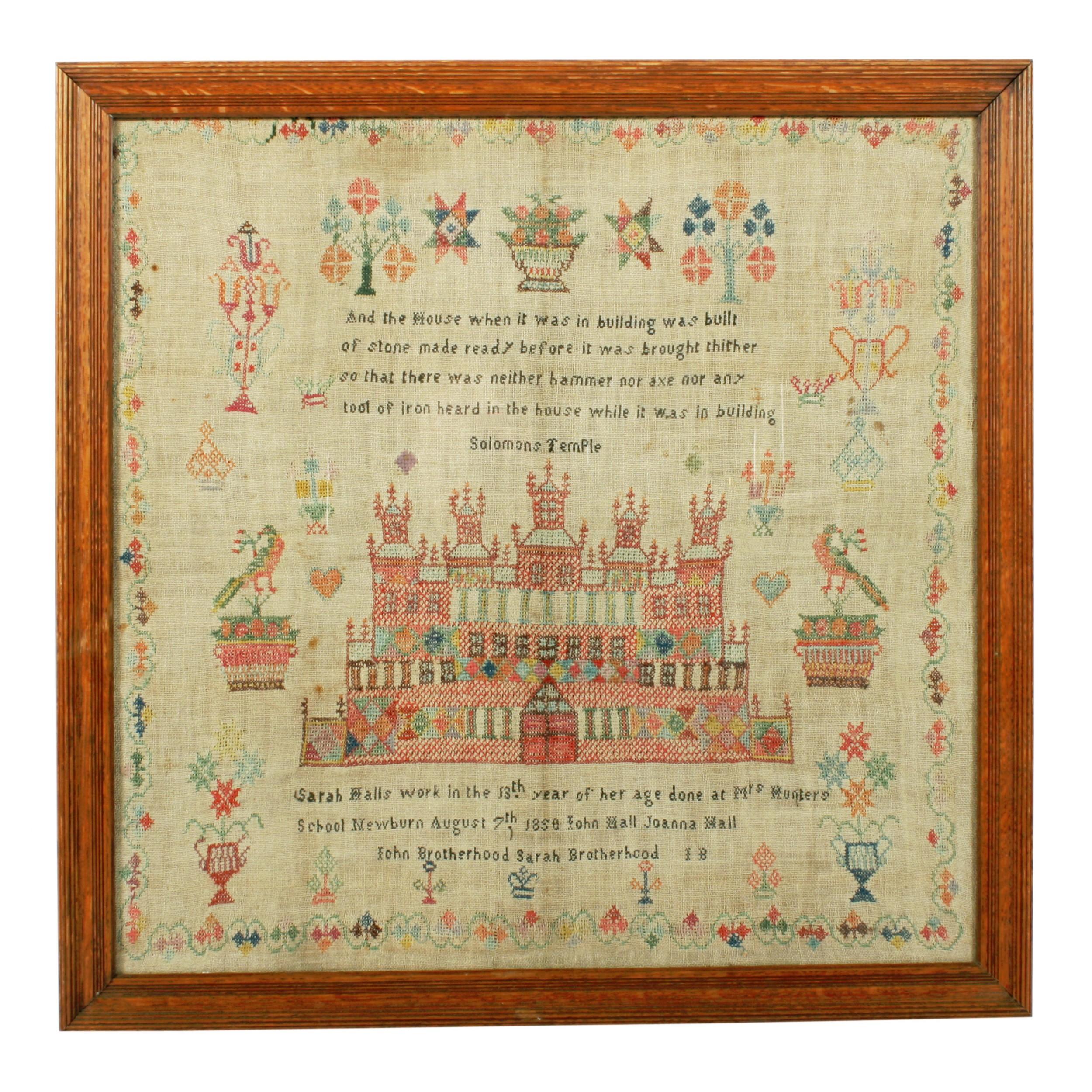 solomon's temple needlework sampler