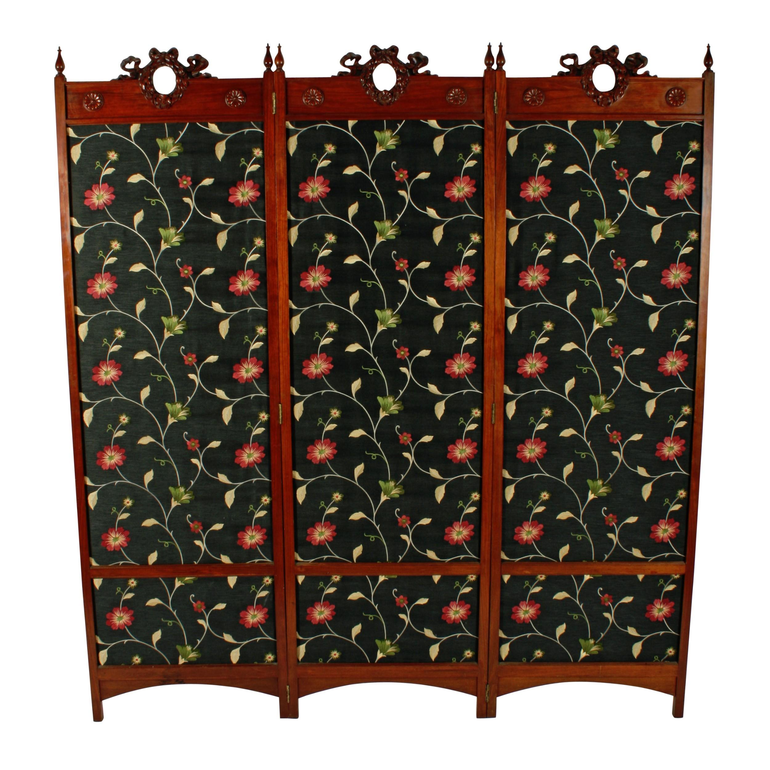 walnut three fold draught screen
