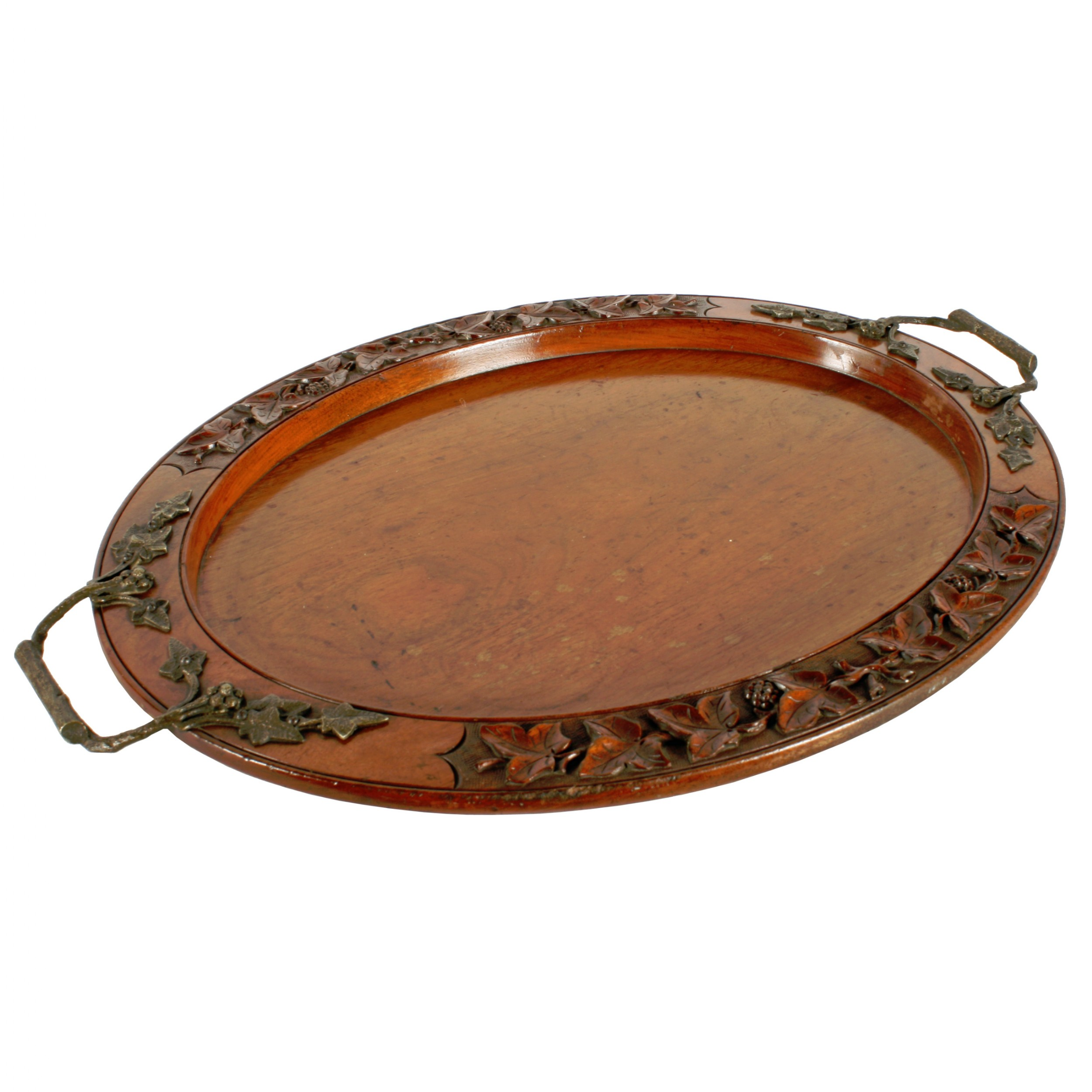victorian oval walnut tray