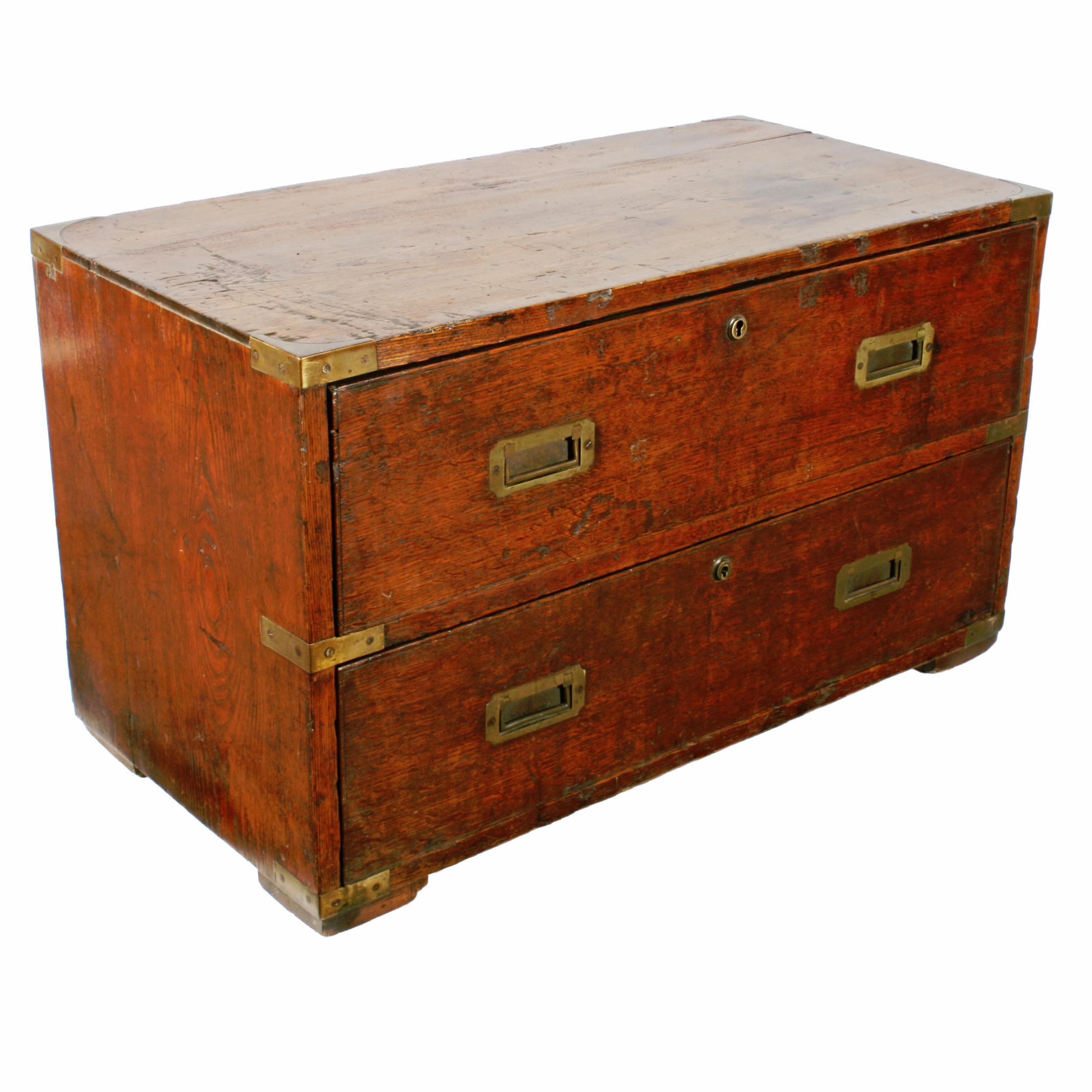 two drawer oak campaign chest