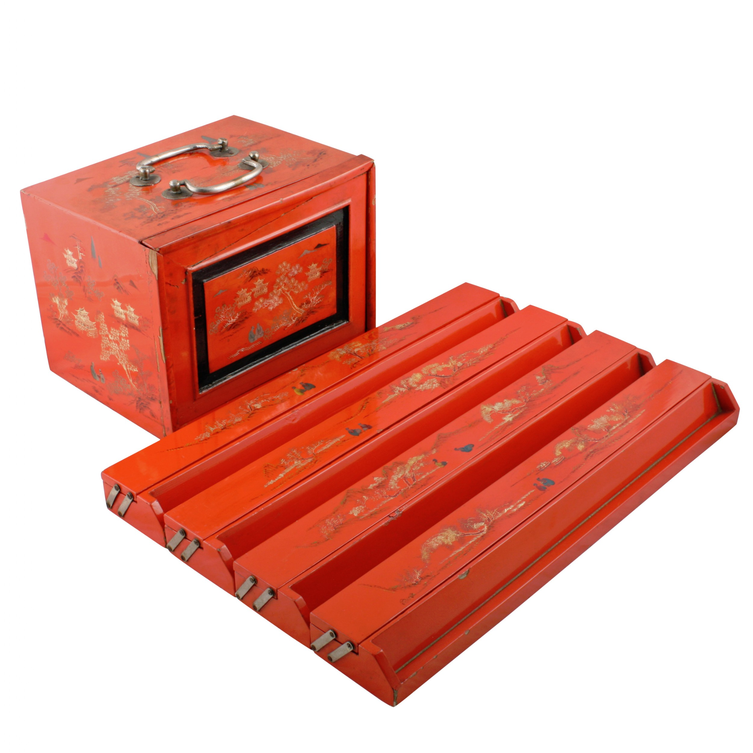 red lacquered mahjong set