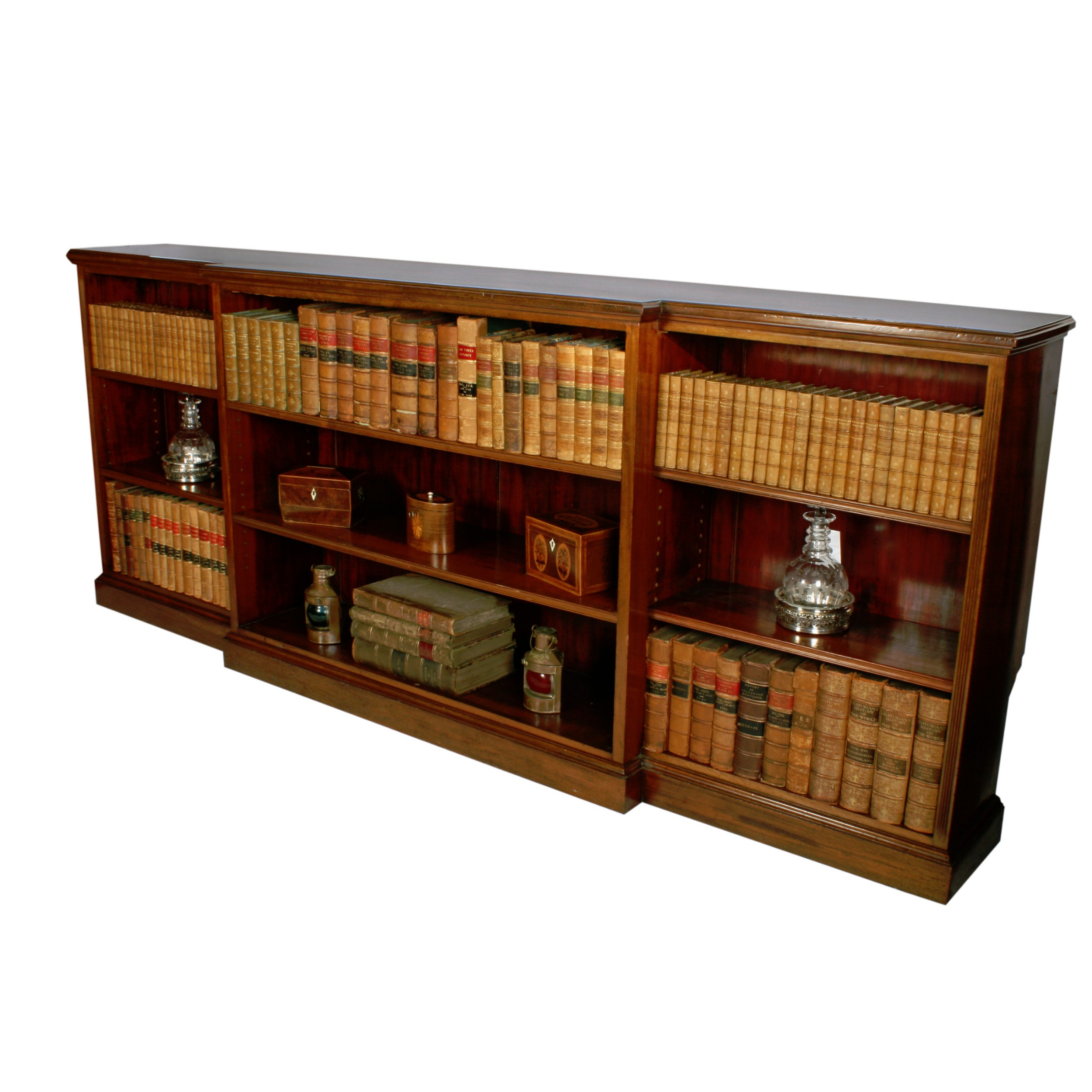 long victorian open bookcase