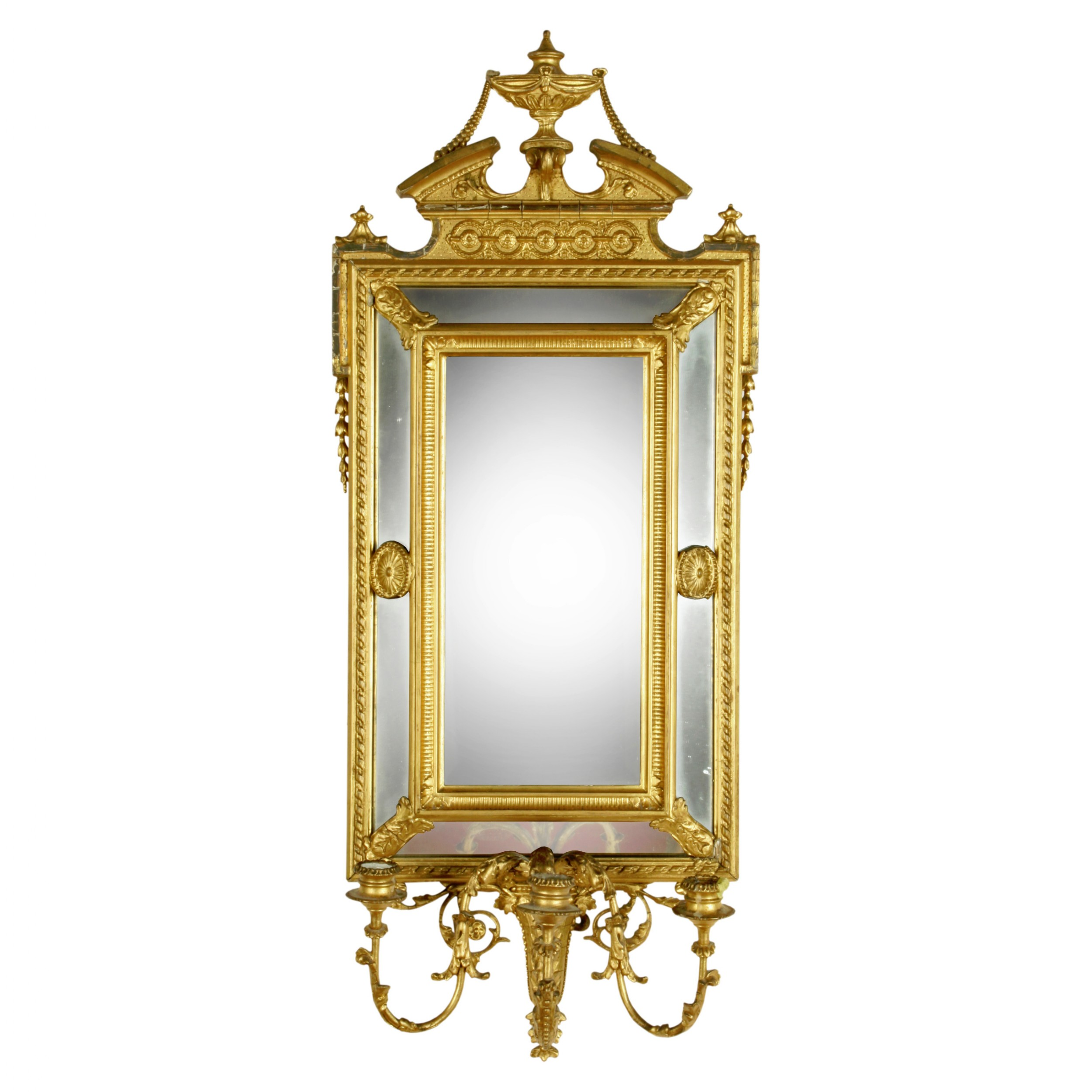 gilt wood gesso girandole mirror