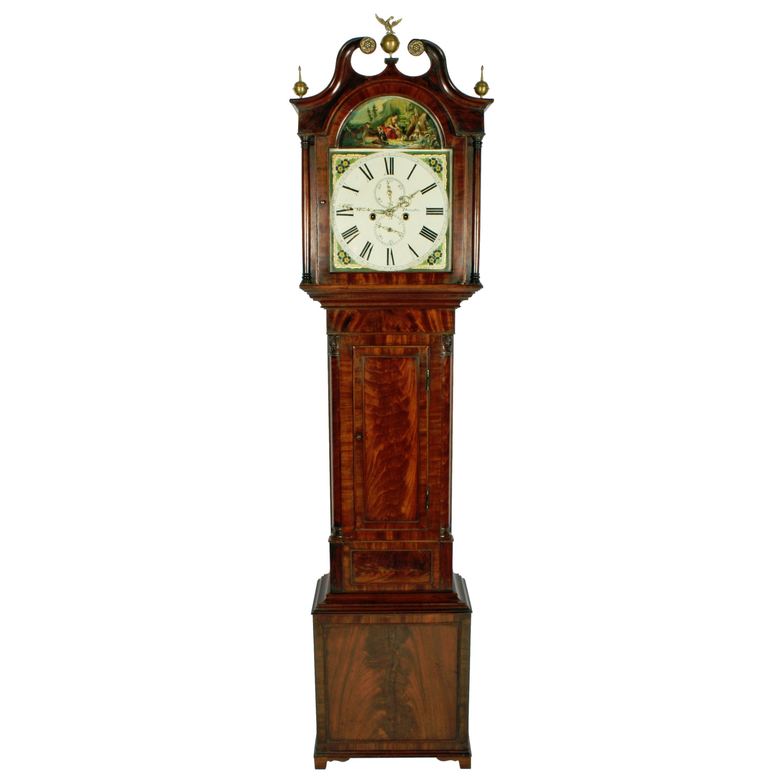 georgian painted dial grandfather clock
