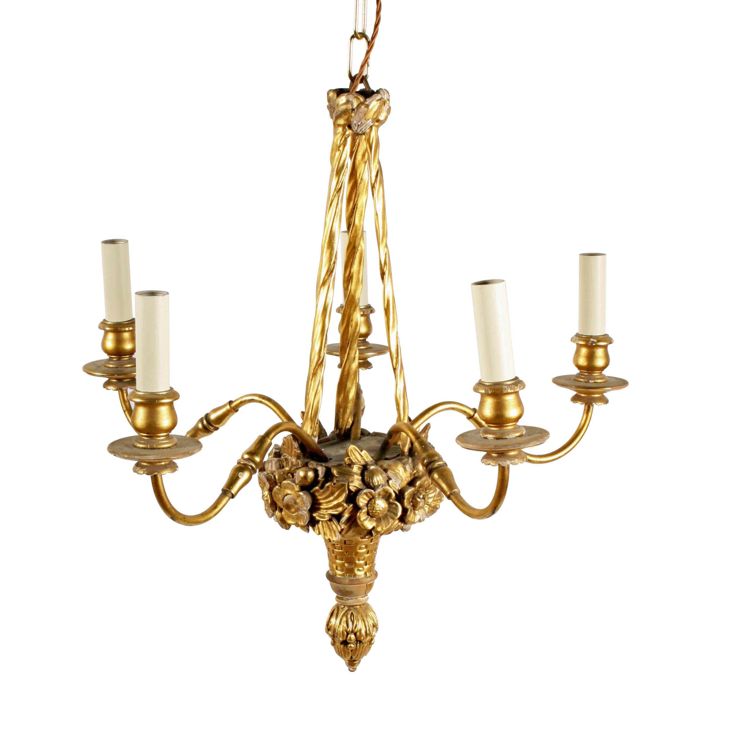 carved wood gilt brass chandelier