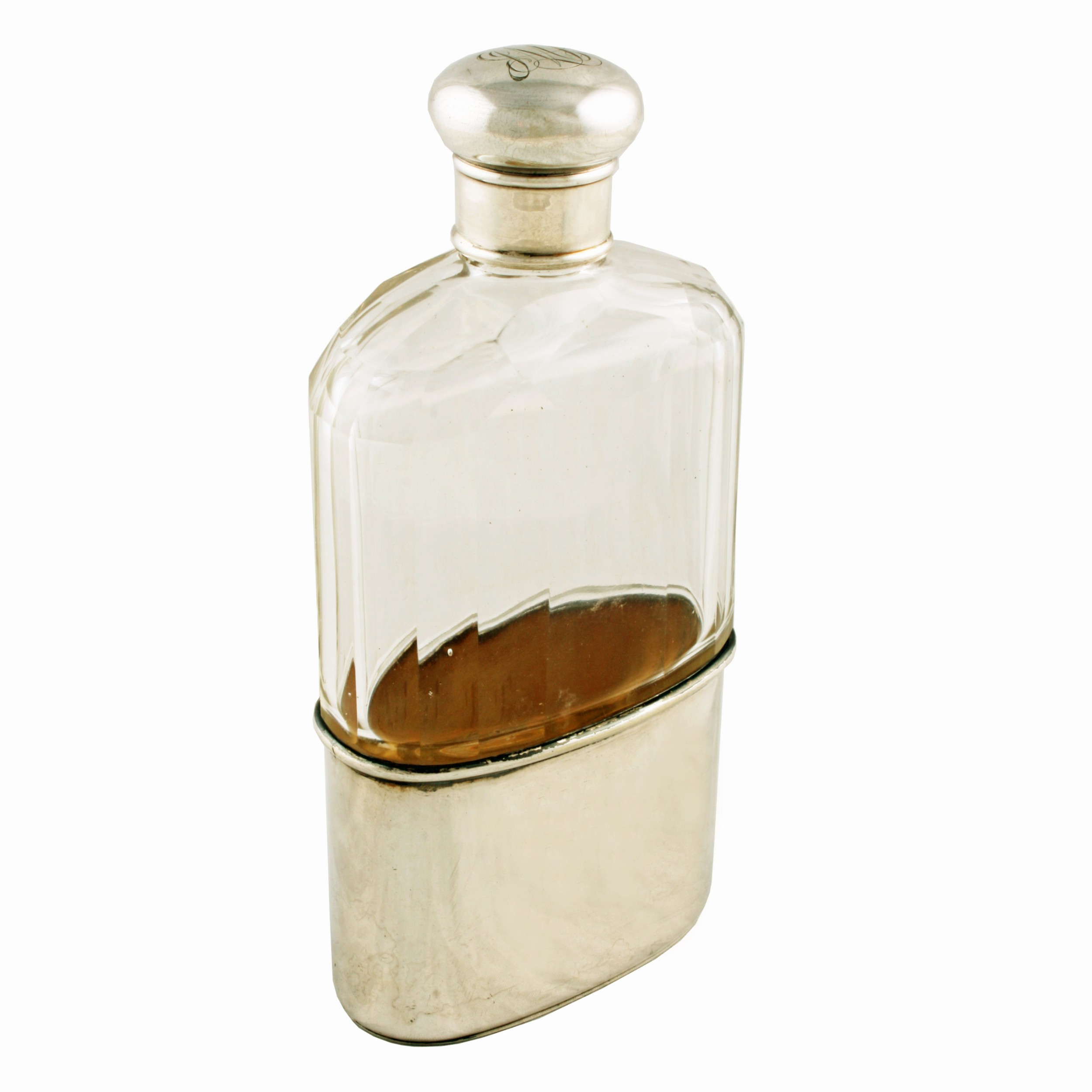 edwardian silver top hip flask