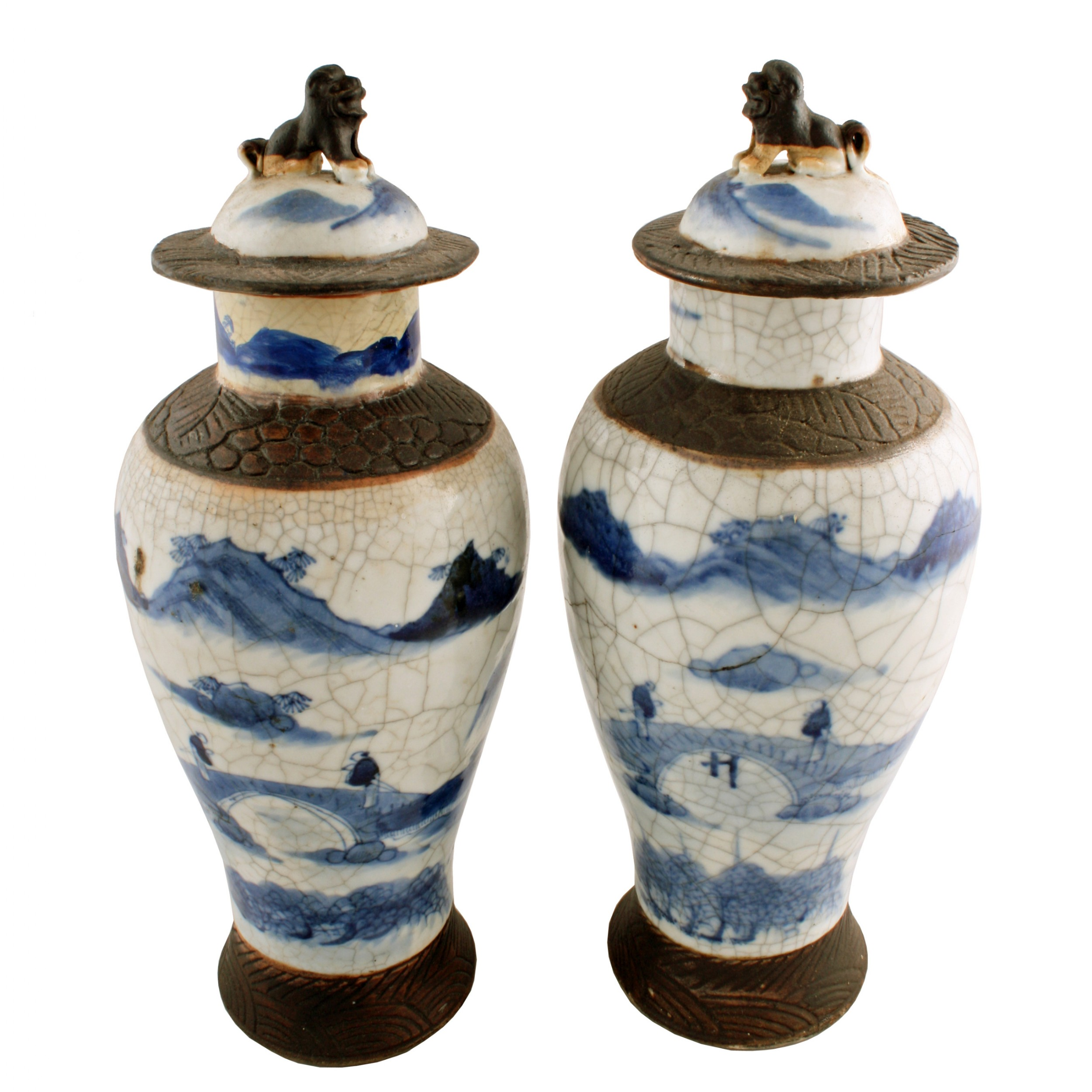 pair of chinese crackle ware vases