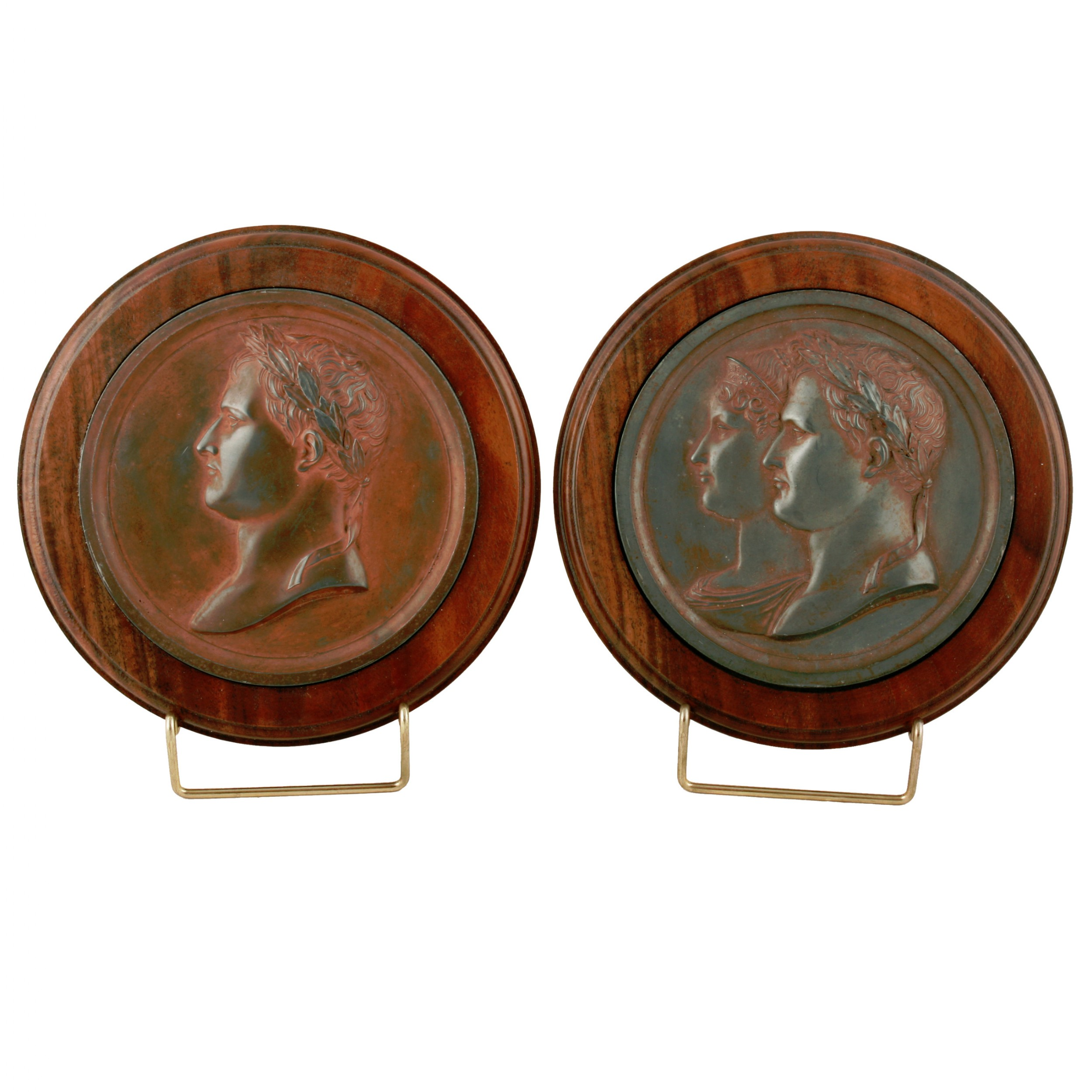 pair of french empire bronzed lead medals