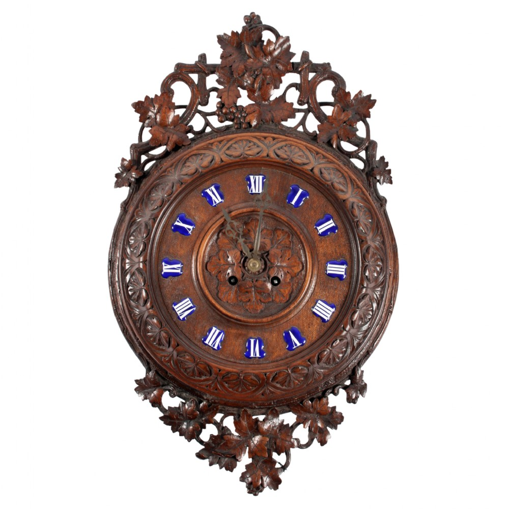 French carved wood wall clock sellingantiques