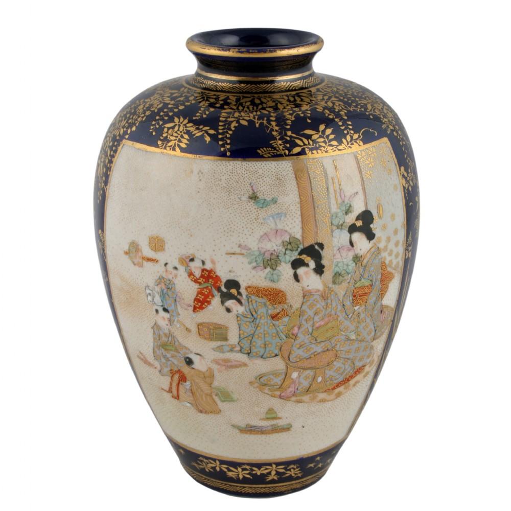 Japanese satsuma pottery vase 317457 for Asian antiques uk
