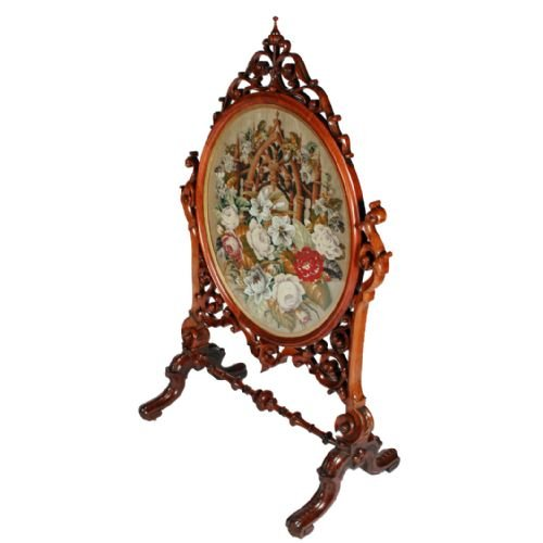 victorian walnut frame tapestry fire screen