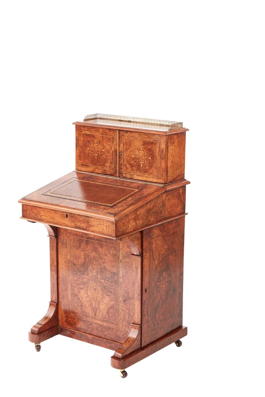 outstanding quality victorian inlaid burr walnut davenport