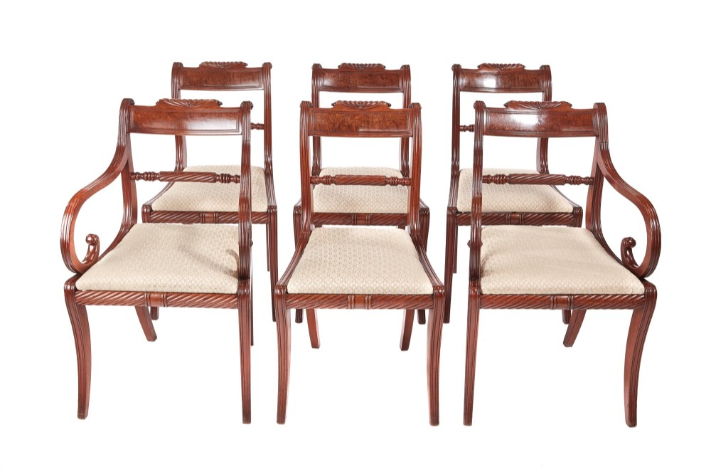 fine set of 6 antique regency mahogany dining chairs