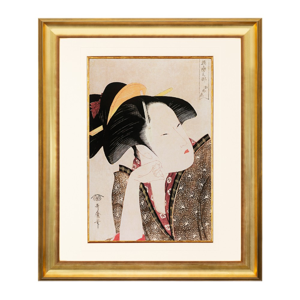 reflective love kitagawa utamaro fine art print 1958 antique art antique fine art antique lithograph antique prints antique japanese antique japanese art
