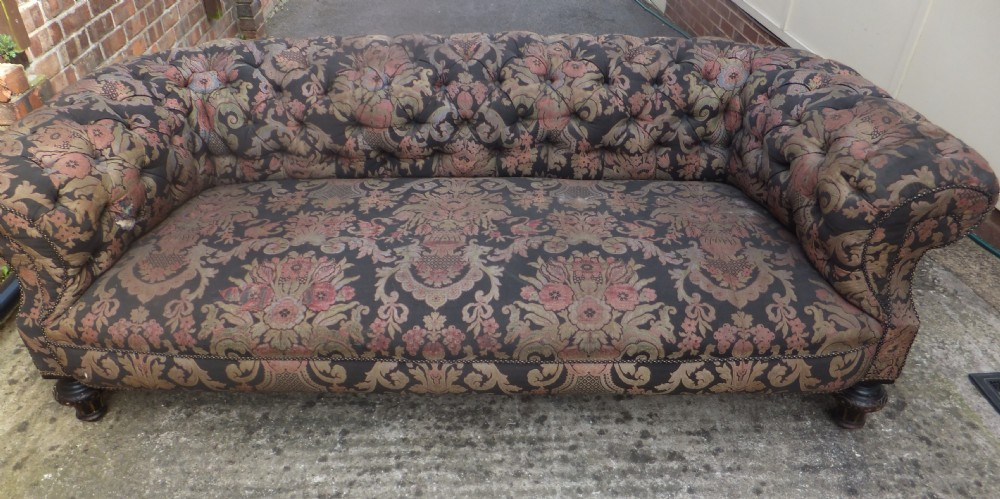 Large Very Deep Comfortable Button Backed Victorian Chesterfield Sofa