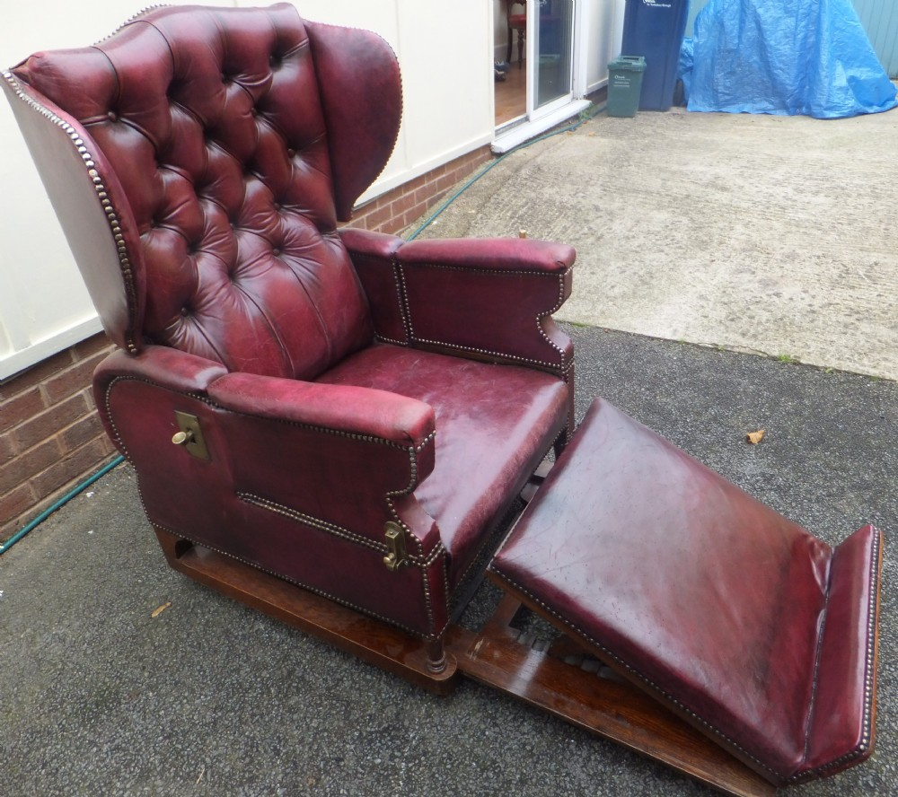 19th century leather reclining chair by foot's - 19th Century Leather Reclining Chair By Foot's 307234