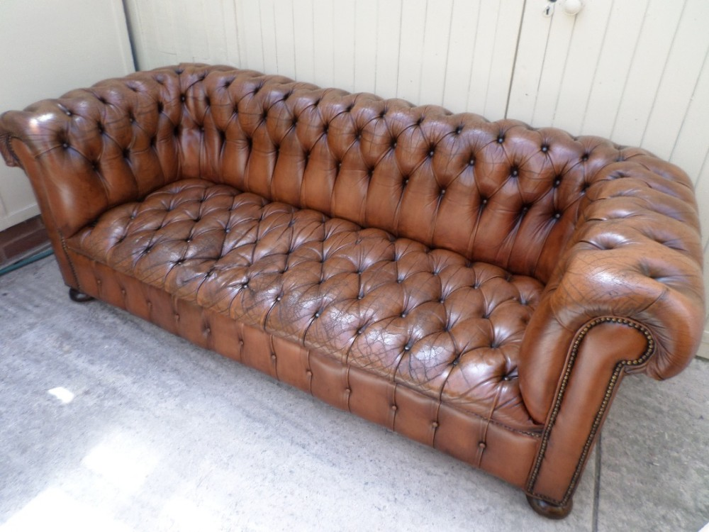 Brown Leather Buttoned Chesterfield Sofa Stunning Colour Circa 1920 Nicely  Worn