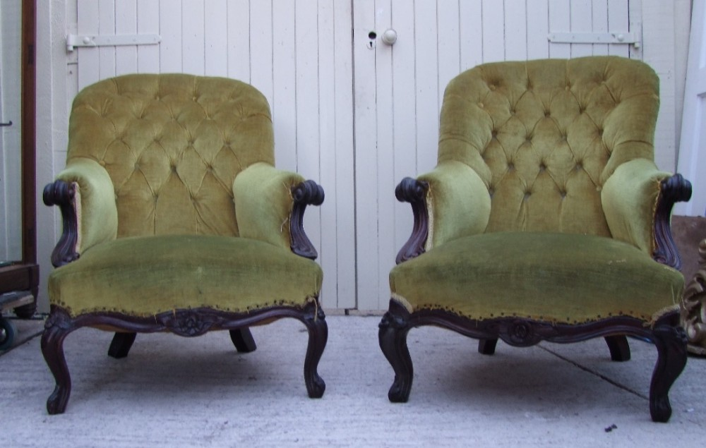 matching pair of victorian rosewood armchairs