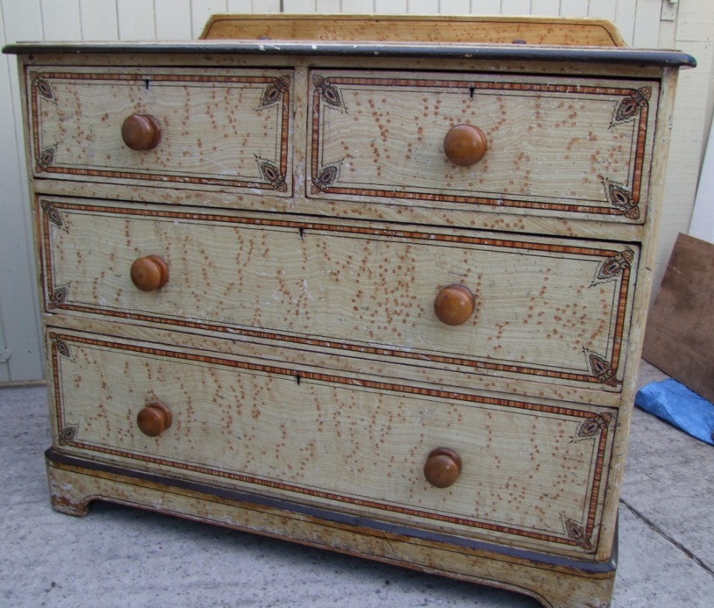 original victorian painted pine chest of drawers