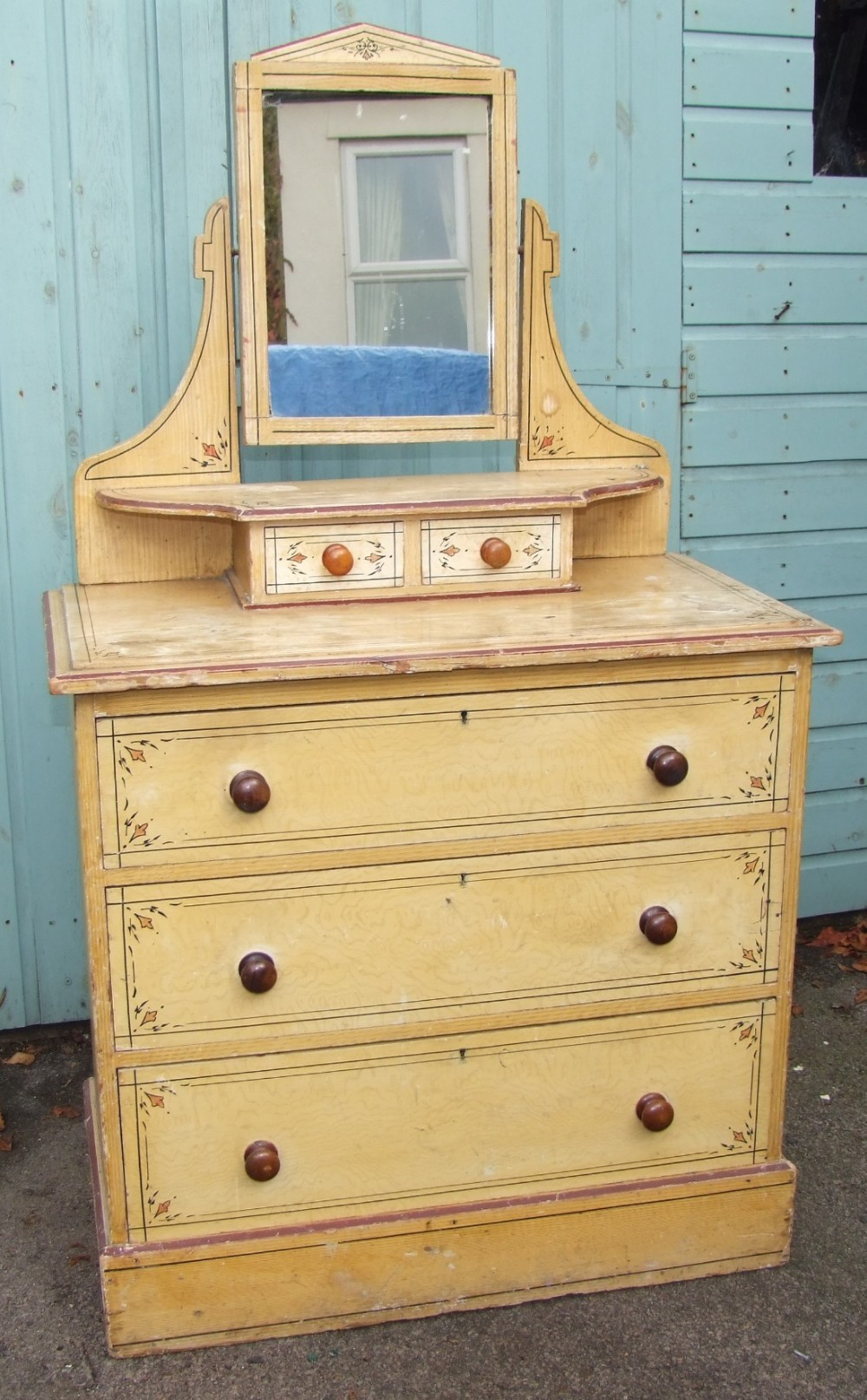 victorian original painted pine dressingchest chest of drawers with mirror