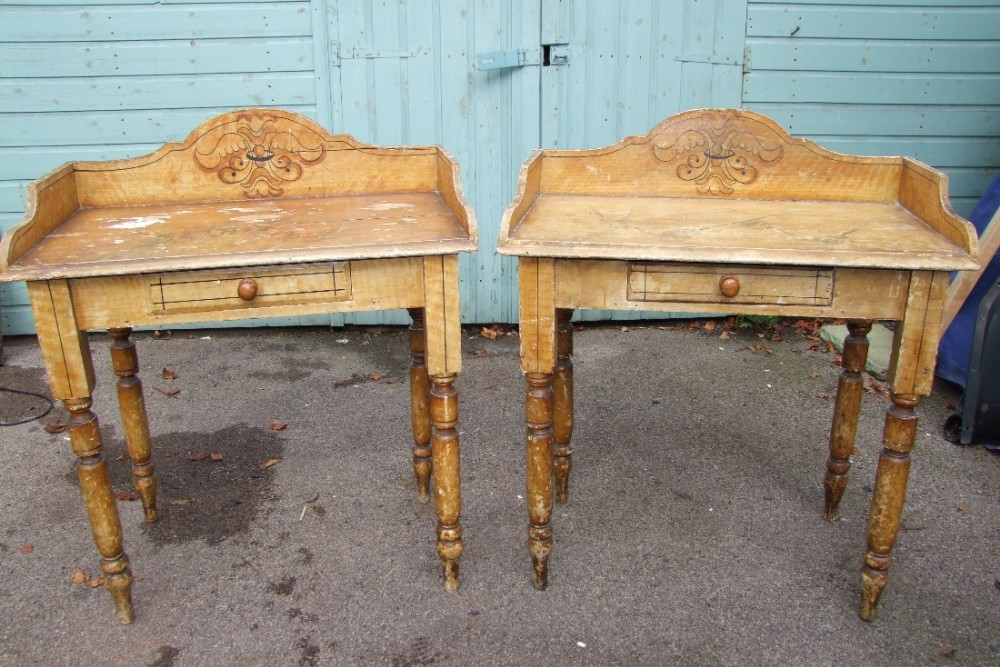 matching pair of victorian painted pine washstands all original