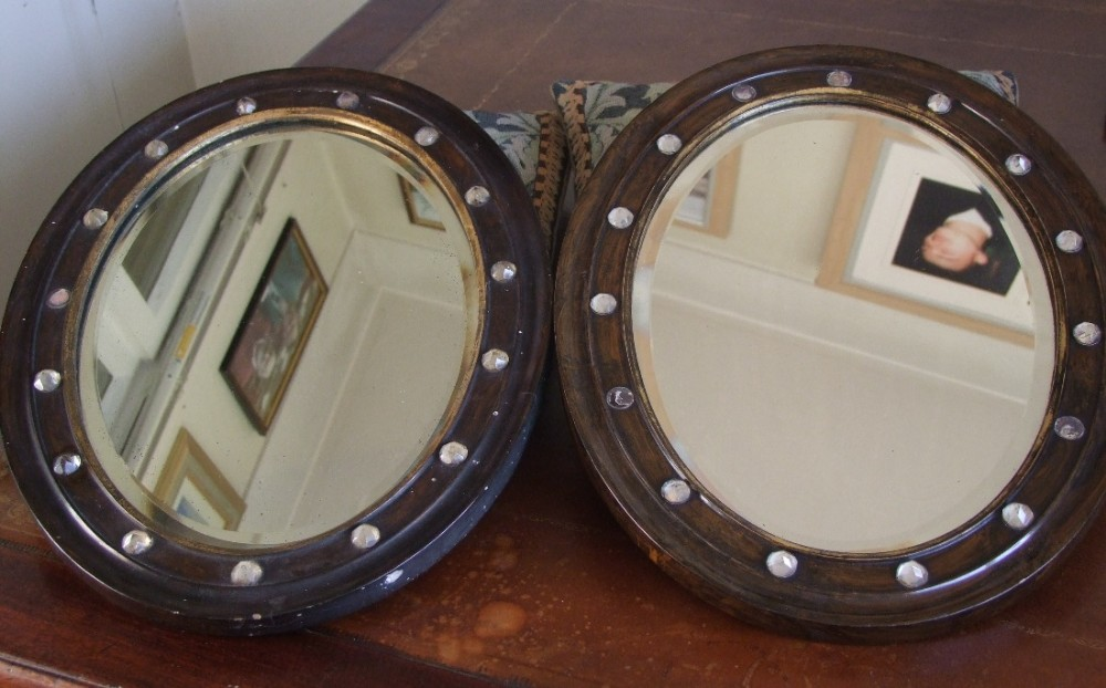 matched pair of 19th century oval irish mirrors