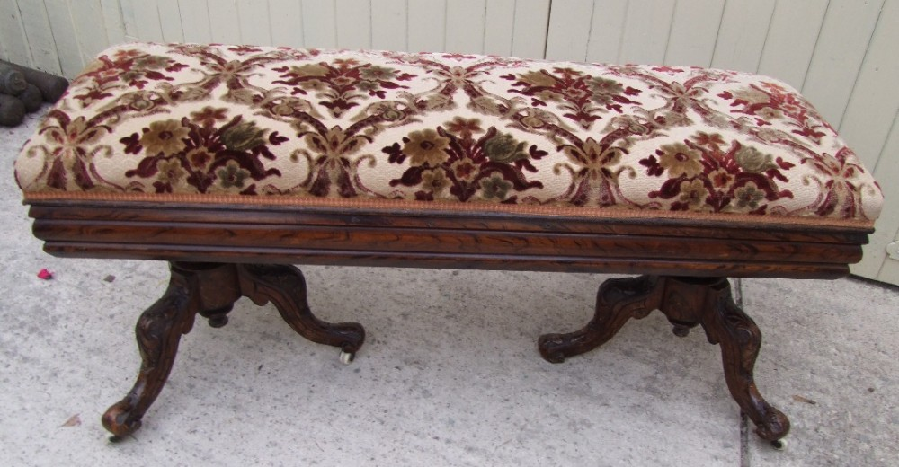 victorian faux rosewood duet piano stool window seat