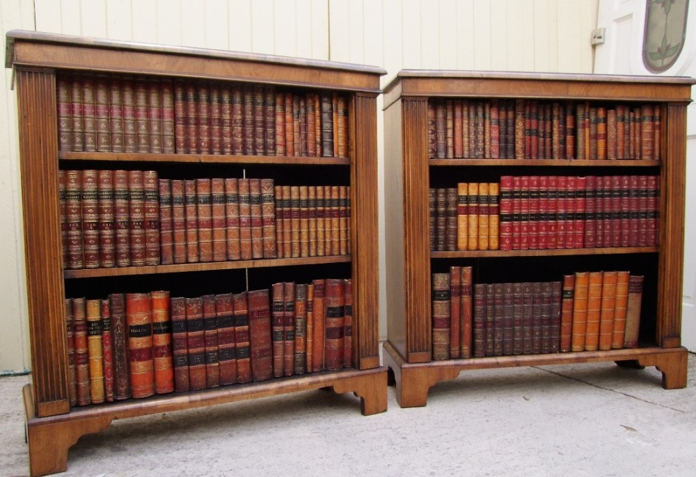 pair of beautiful matching edwardian open bookcases in walnut in excellent condition