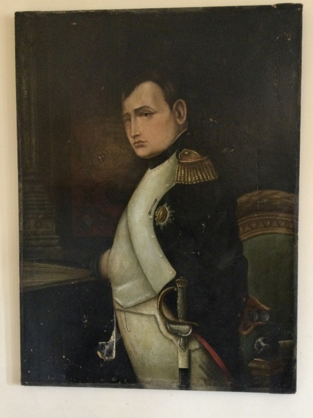 large oil on canvas painting of napoleon bonoparte