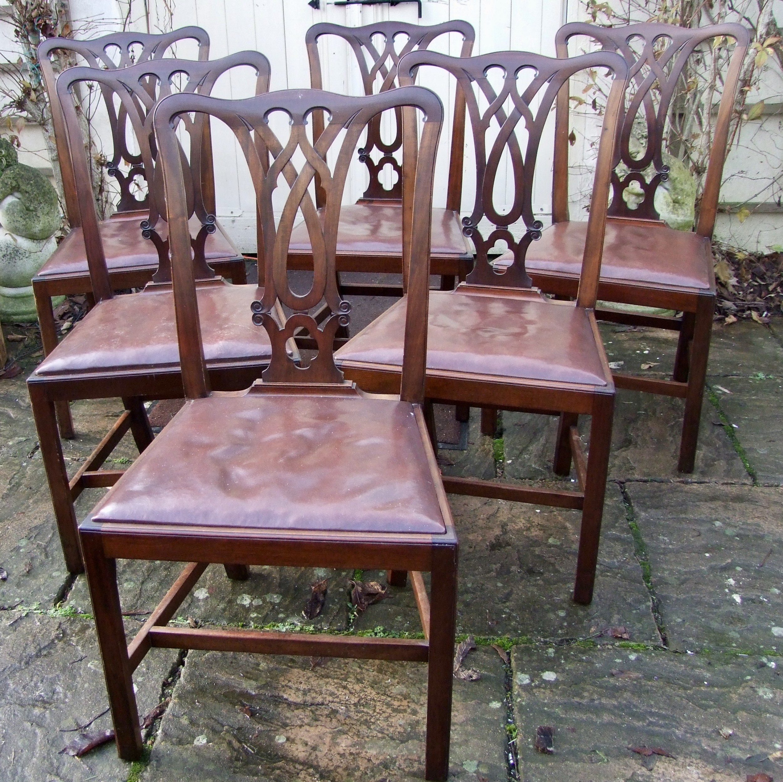 b47d854dc84cf Set Of Six Edwardian Mahogany Chippendale Style Dining Chairs ...