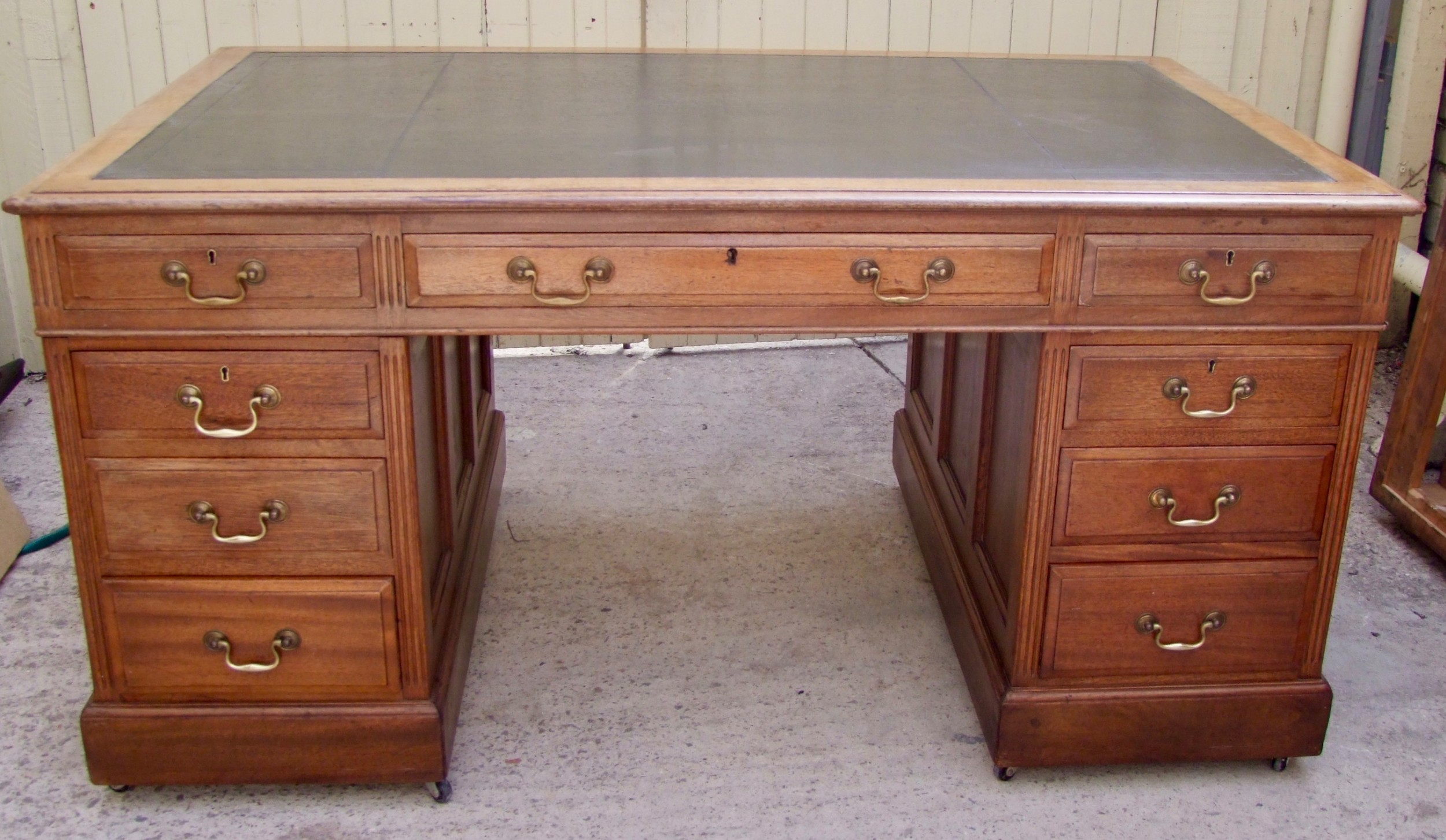 large 19th century mahogany pedestal desk