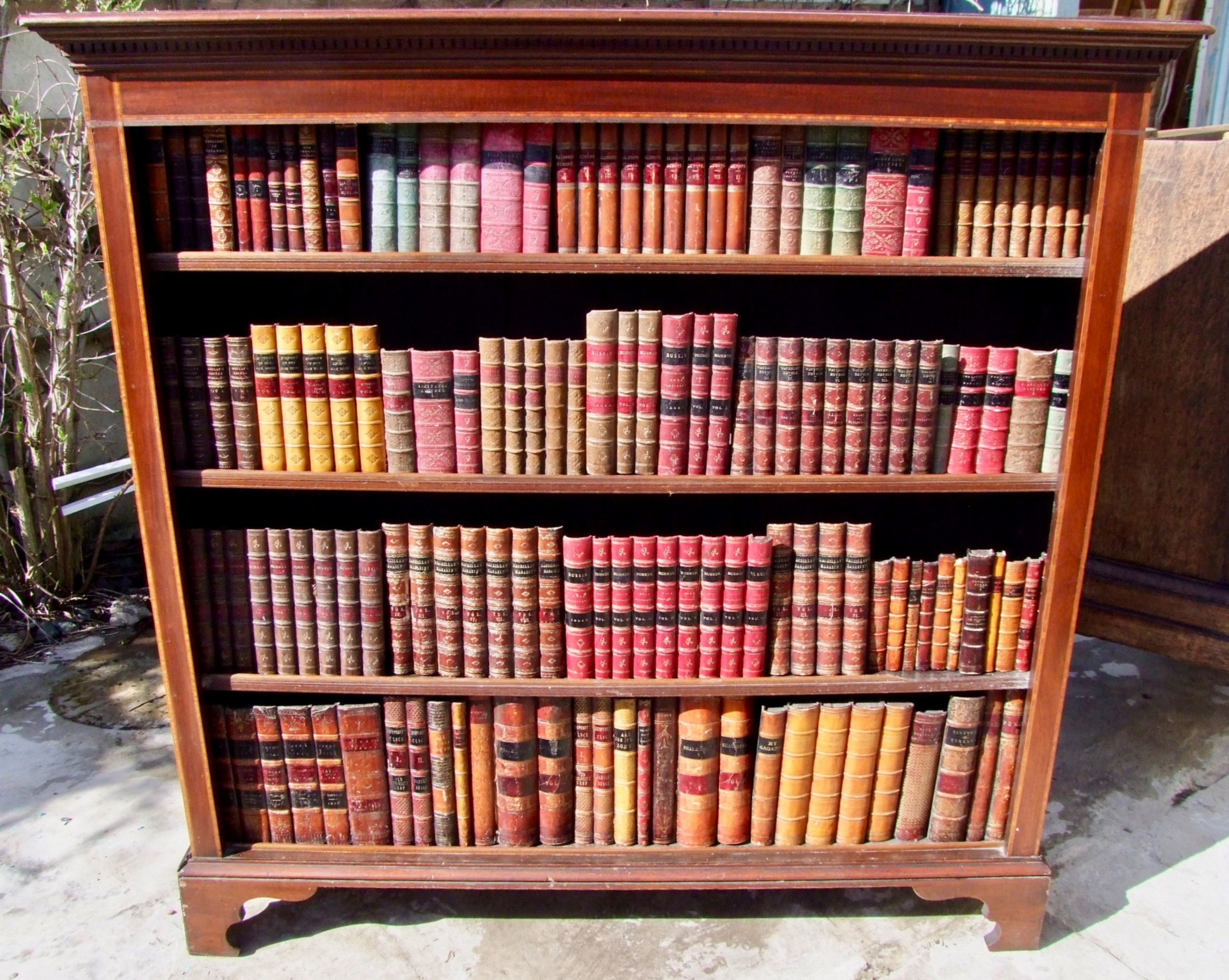 edwardian inlaid open bookcase in mahogany