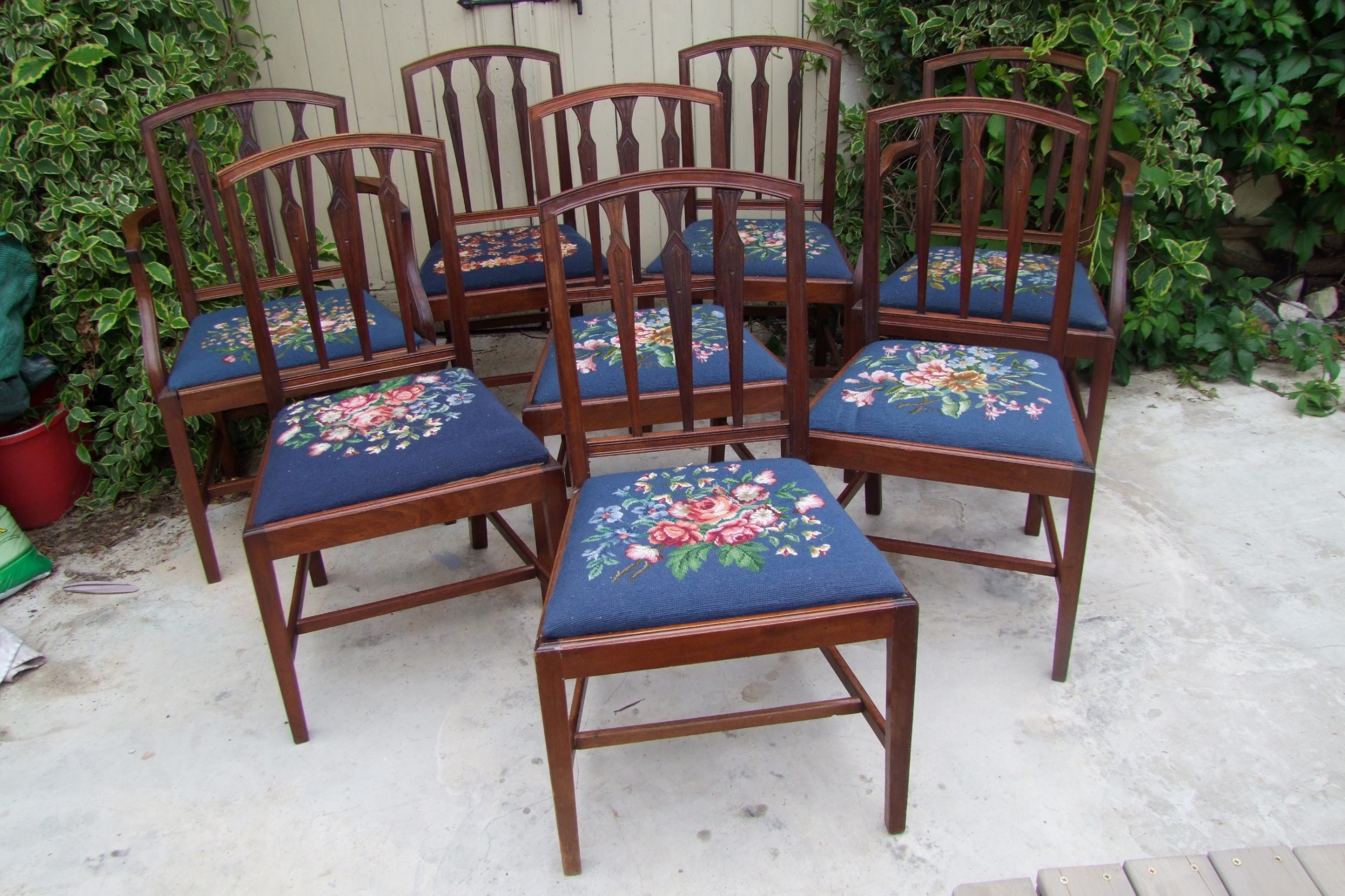 set of eight georgian style edwardian dining chairs in mahogany two carvers and six singles