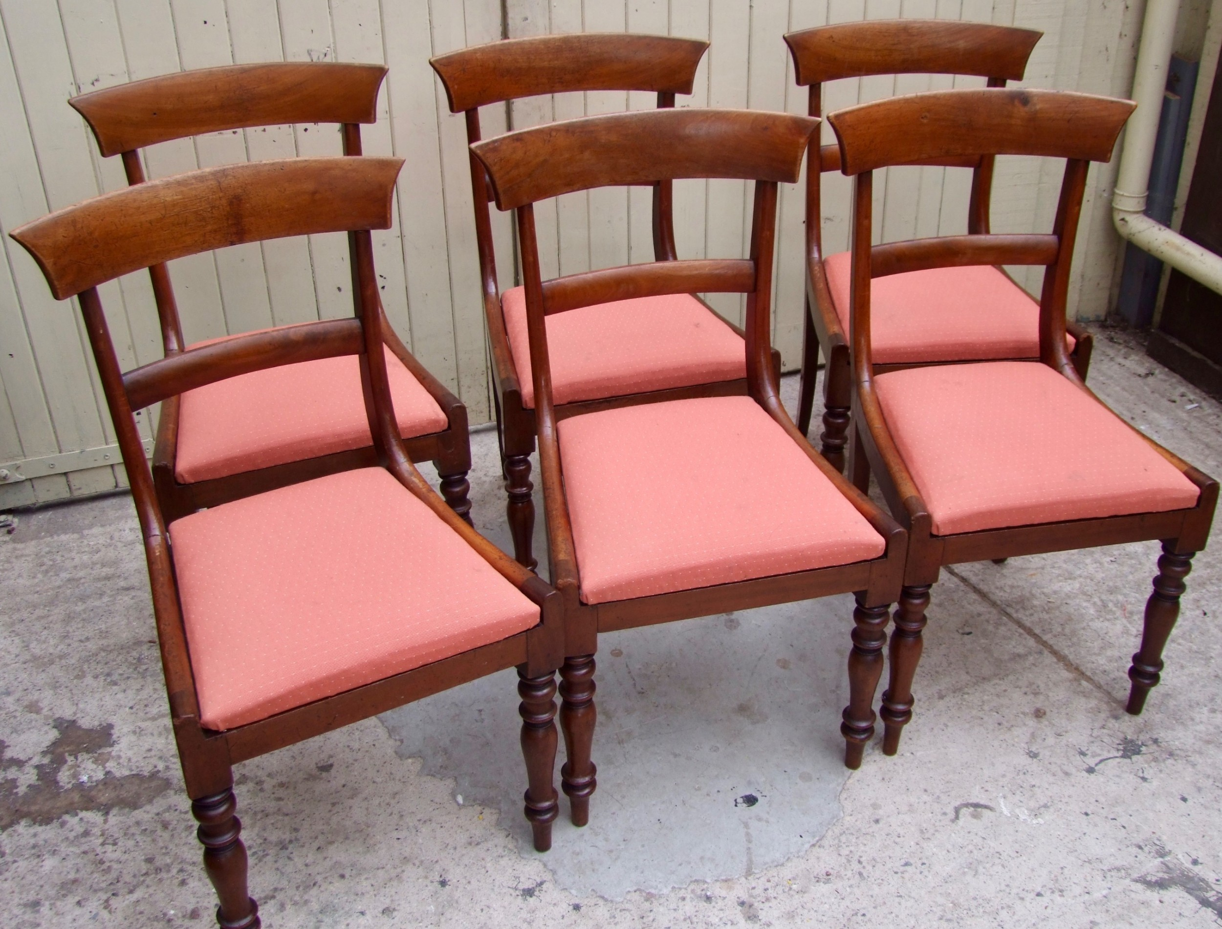 set of six 19th century bar back dining chairs in mahogany