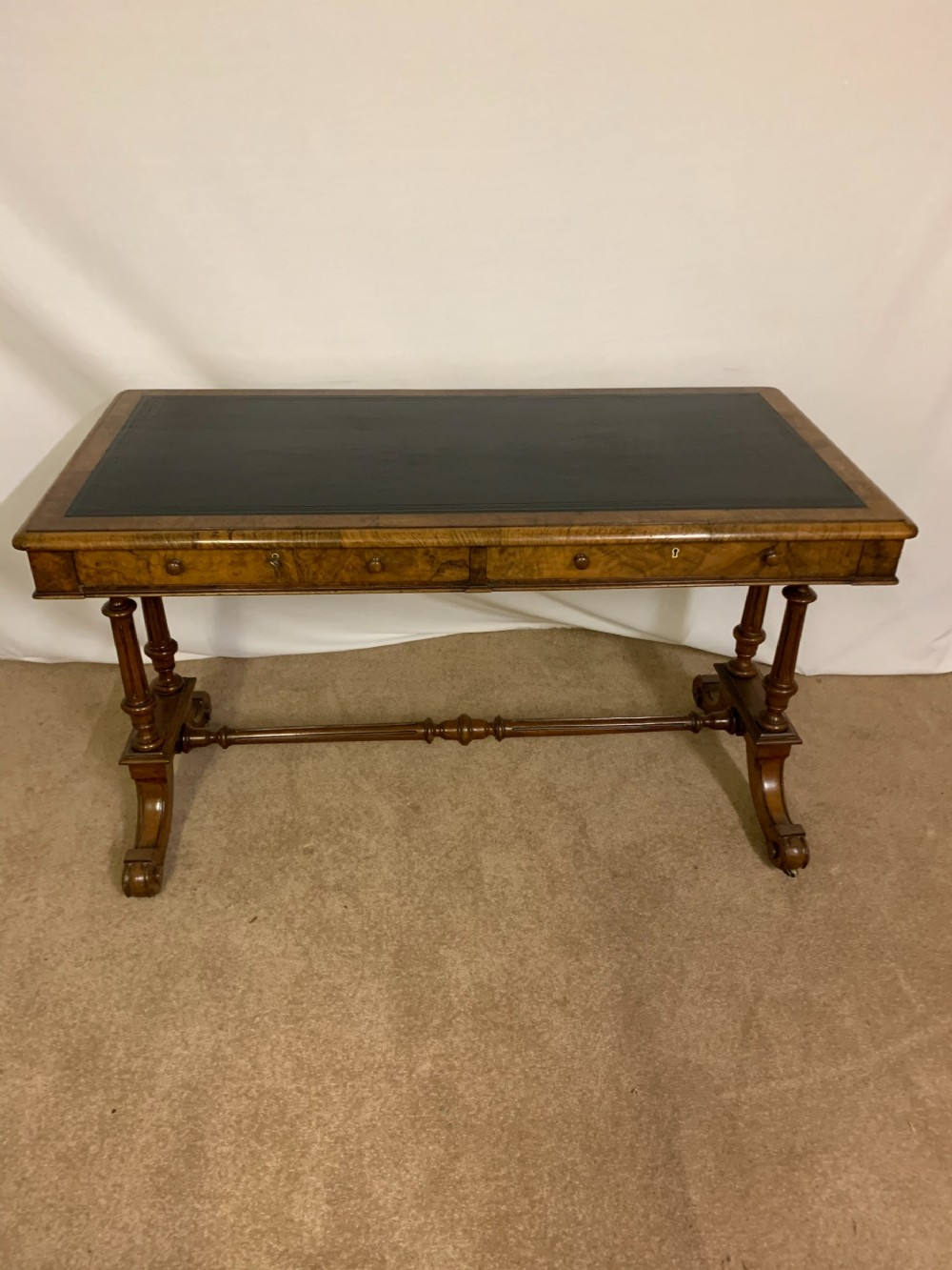 elegant early victorian library walnut writing table