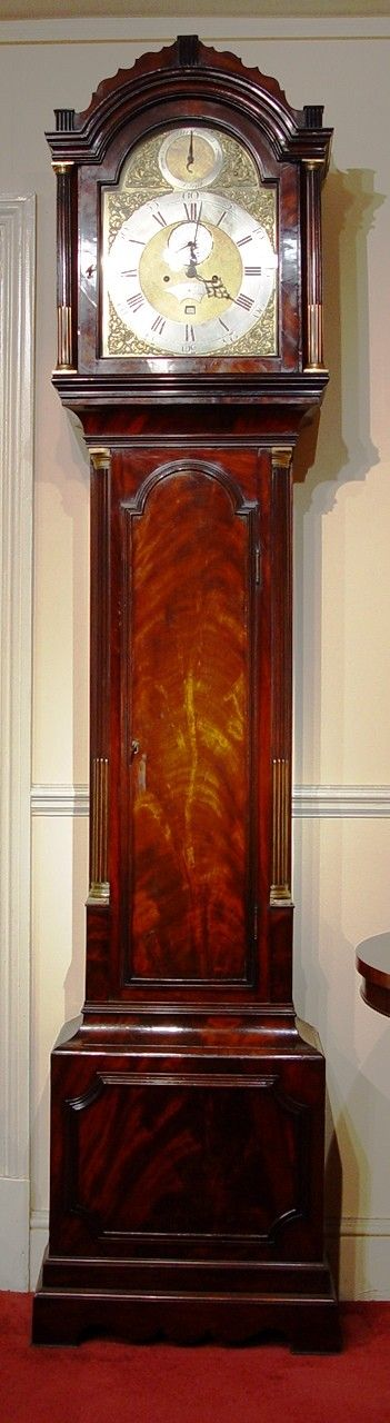 an english george iii late 18th century flame mahogany 2train london longcase clock with strikesilent by joseph stevens hampstead