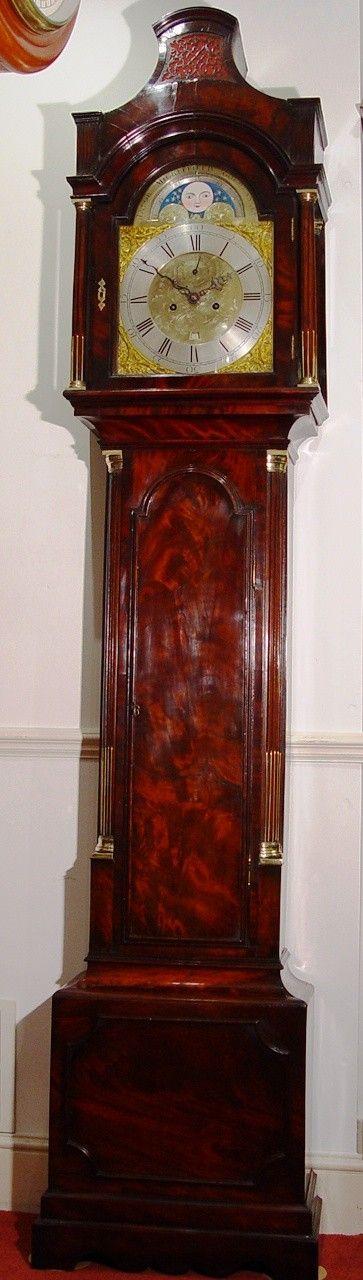 an english george iii late 18th century flame mahogany 2train moonroller longcase clock by jacob micklefield goldhanger