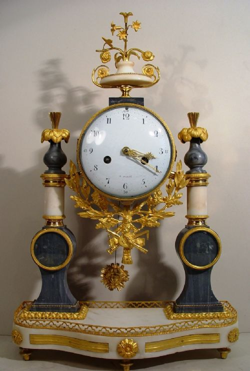 a french mid 18th century carrera white marble and ormolu mantel clock circa 1750