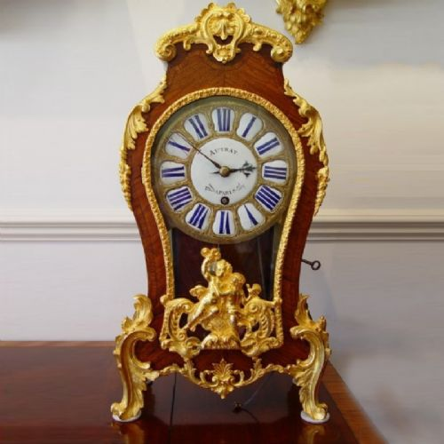 a french mid 18th century kingwood parquetry and gilt bronze mounted louis xv mantle antique clock with quarter pull repeat by autray