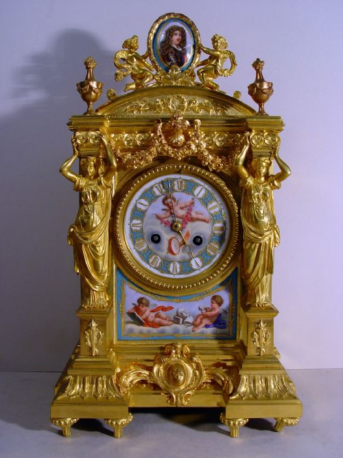 a stunning quality mid 19th century french ormolu and porcelain matel clock by vincenti cie circa 1855