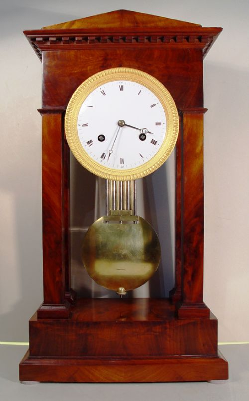an early 19th cent french mahogany portico table regulator clock with knife edge suspension