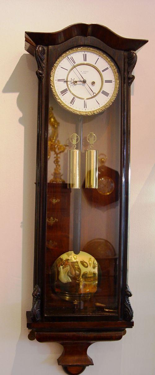 an austrian biedermeier double weight vienna regulator wall clock