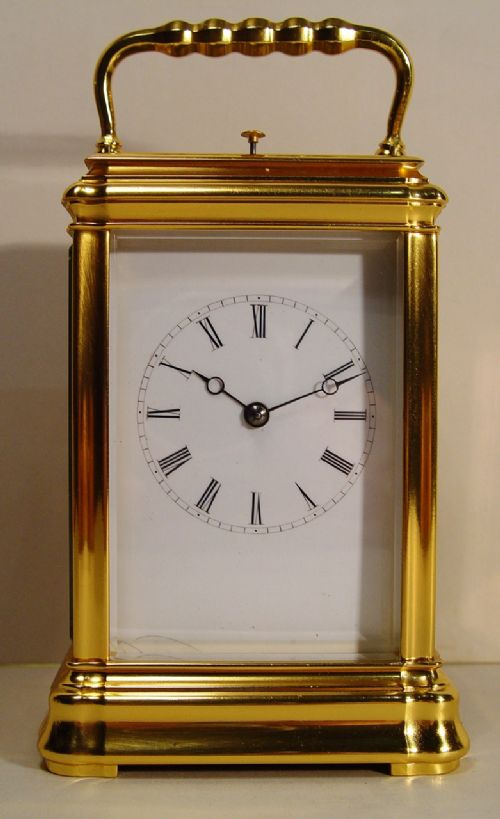 a mid 19th century french gilt bronze gorge case repeating carriage clock