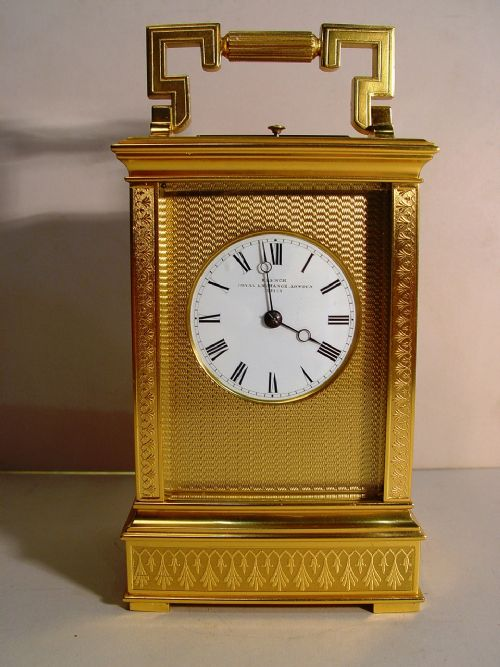a soldano mid 19th century french engraved gilt bronze case repeating carriage clock